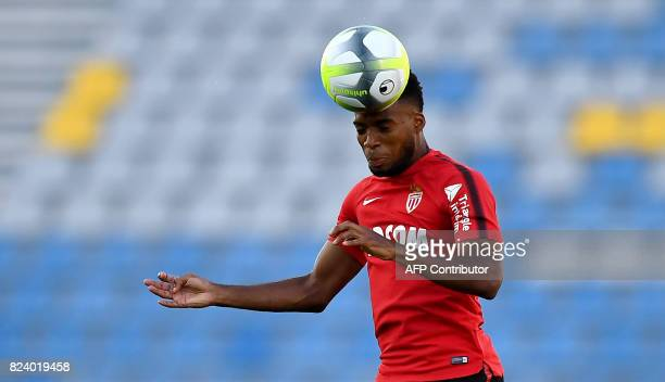 Monaco's French midfielder Thomas Lemar heads the ball during a training session at the Grand Stade in Tangiers on July 28 2017 on the eve of the...