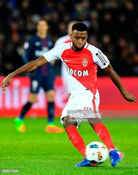 Monaco's French midfielder Thomas Lemar passes the ball during the French L1 football match between Paris SaintGermain and Monaco at the Parc des...