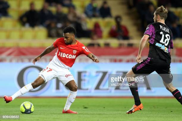Monaco's French midfielder Thomas Lemar vies with Bordeaux's Czech midfielder Jaroslav Plasil during the French L1 football match Monaco vs Bordeaux...