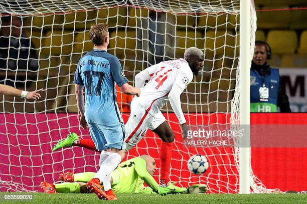 Monaco's French midfielder Tiemoue Bakayoko celebrates after scoring a goal past Manchester City's Argentinian goalkeeper Willy Caballero during the...