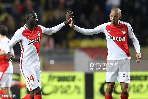 Monaco's French midfielder Tiemoue Bakayoko celebrates with Monaco's Brazilian defender Fabinho after scoring a goal during the French L1 football...