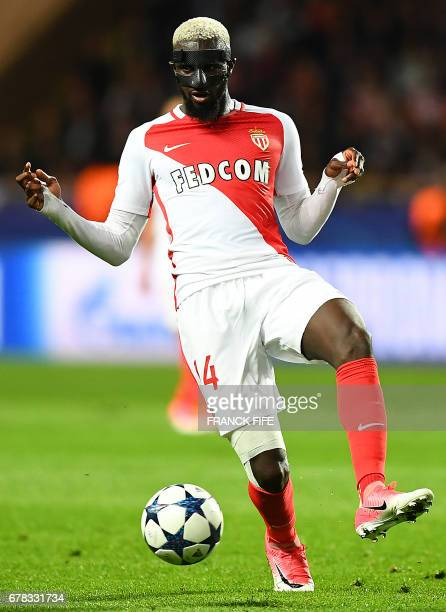 Monaco's French midfielder Tiemoue Bakayoko controls the ball during the UEFA Champions League semifinal first leg football match between Monaco and...