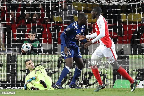 Monaco's French midfielder Tiemoue Bakayoko reacts after scoring a goal during the French L1 football match between AS Monaco and Lyon at the Louis...