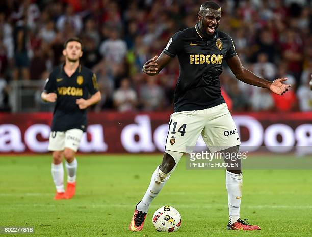 Monaco's French midfielder Tiemoue Bakayoko reacts during the French L1 football match between Lille OSC and AS Monaco FC at the PierreMauroy Stadium...