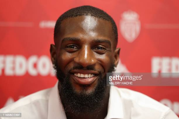 Monaco's French midfielder Tiemoue Bakayoko smiles during a press conference held for his presentation in La Turbie near Monaco on September 3 2019