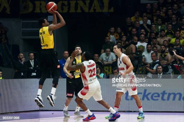 AS Monaco's Gerald Robinson vies with AEK Athens Kevin Punter during the final four Champions League final basketball game between AS Monaco and AEK...