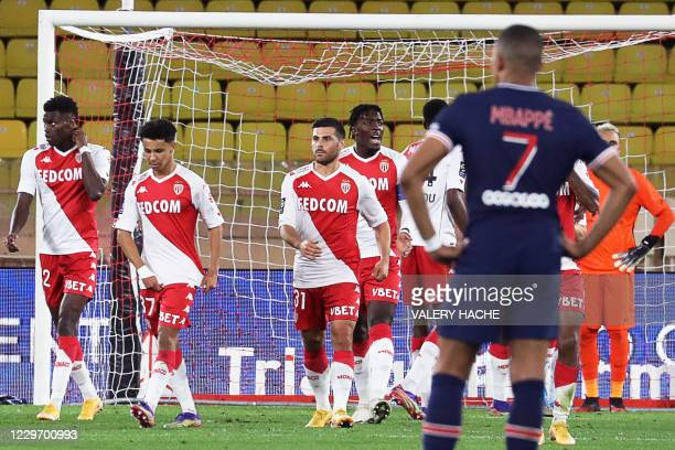Monaco's German forward Kevin Volland celebrates after scoring his second goal during the French L1 football match between Monaco and Paris...