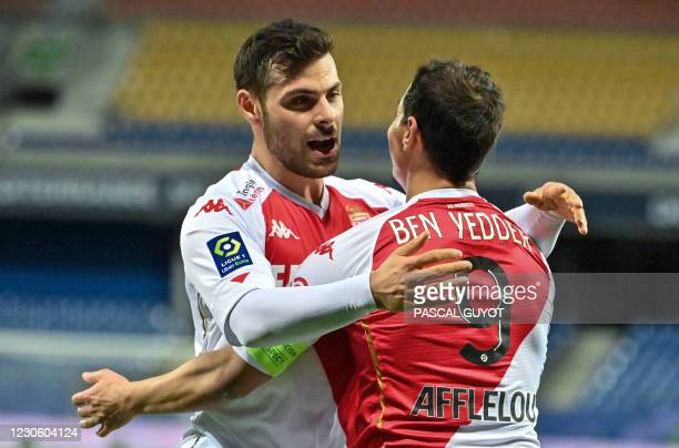 Monaco's German forward Kevin Volland congratulates his teammate Monaco's French forward Wissam Ben Yedder after scoring a goal during the French L1...
