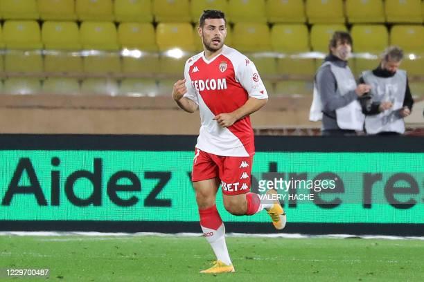Monaco's German forward Kevin Volland reacts after scoring a goal during the French L1 football match between Monaco and Paris Saint-Germain at the...