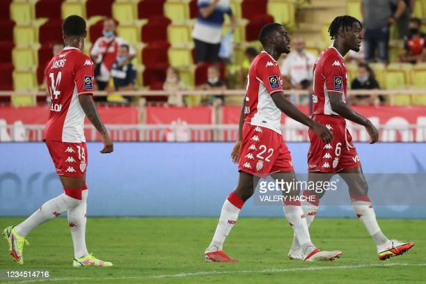 Monaco's German midfielder Ismail Jakobs, Monaco's French midfielder Youssouf Fofana and Monaco's French defender Axel Disasi leave the pitch at the...