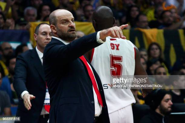 AS Monaco's head coach Zvezdan Mitrovic gestures during the final four Champions League final basketball game between AS Monaco and AEK Athens at the...