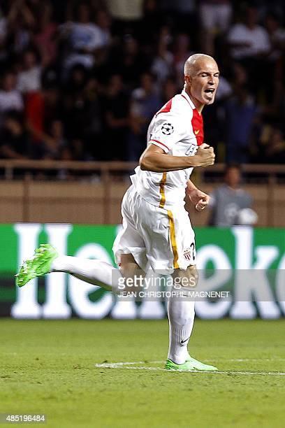 Monaco's Italian defender Andrea Raggi celebrates after scoring during the UEFA Champions League playoff football match between AS Monaco FC vs...