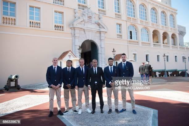 Monaco's Italian defender Andrea Raggi, Monaco's French forward Kylian Mbappe, Monaco's French forward Valere Germain, Monaco's Portuguese coach...