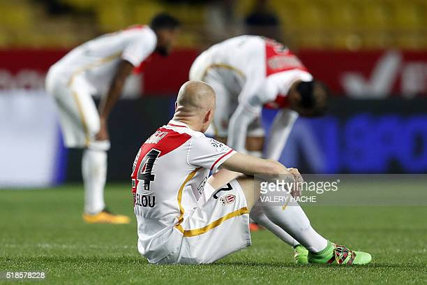 Monaco's Italian defender Andrea Raggi reacts at the end of the French L1 football match Monaco vs Bordeaux on April 1 2016 at the 'Louis II Stadium'...