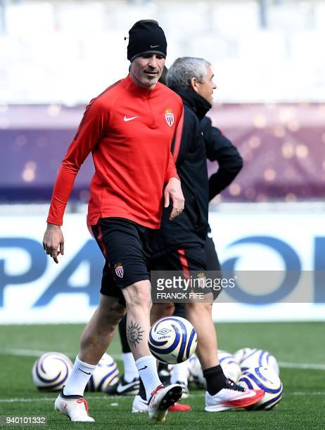 Monaco's Italian defender Andrea Raggi takes part in a training session at the Matmut Atlantique Stadium in Bordeaux southwestern France on March 30...