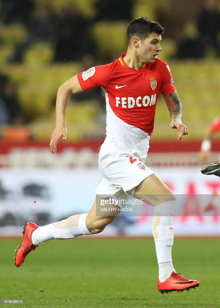 Monaco's Italian forward Pietro Pellegri vies for the ball during the French L1 football match Monaco vs Dijon on February 16, 2018 at the Louis II Stadium in Monaco. Defending champions Monaco eased to a 4-0 home win over Dijon in French Ligue 1 on February 16 as 16-year-old Pietro Pellegri carved out a little piece of history for himself. Meanwhile, Pellegri, at 16 years, 10 months and 30 days, became the youngest player to appear for Monaco when he came on as an 88th minute substitute. /