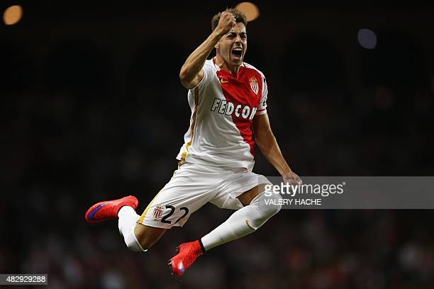 Monaco's Italian forward Stephan El Shaarawy celebrates after scoring the 40 during the UEFA Champions League third qualifying round second leg...