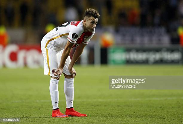 Monaco's Italian forward Stephan El Shaarawy reacts at the end of the UEFA Europa League group J football match between AS Monaco and Tottenham...