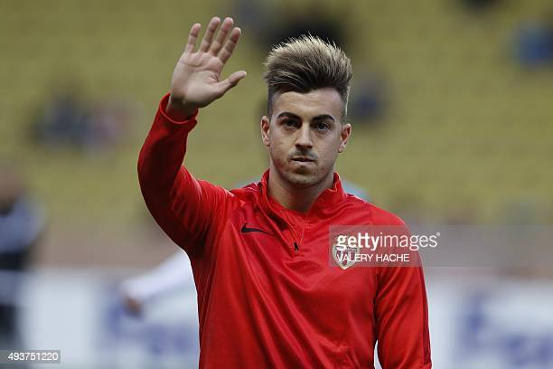 Monaco's Italian forward Stephan El Shaarawy takes part in a training session prior prior to the Europa League Group J football match AS Monaco vs...