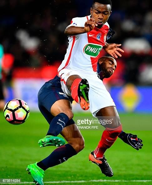 Lucas Moura Brazil 2017: Monaco's Ivorian Defender Kouadio-Yves Dabila Vies With