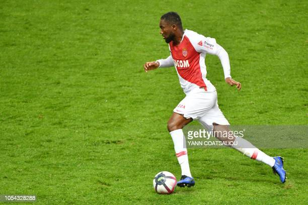 Monaco's Ivorian midfielder JeanEudes Aholou controls the ball during the French L1 football match AS Monaco FC vs Dijon FCO at the Louis II Stadium...