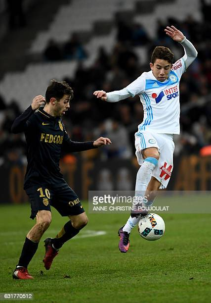 Monaco's midfielder Bernado Mota Veiga de Carvalho E Silva vies with Olympique de Marseille's French midfielder Maxime Lopez on January 15 2017 at...
