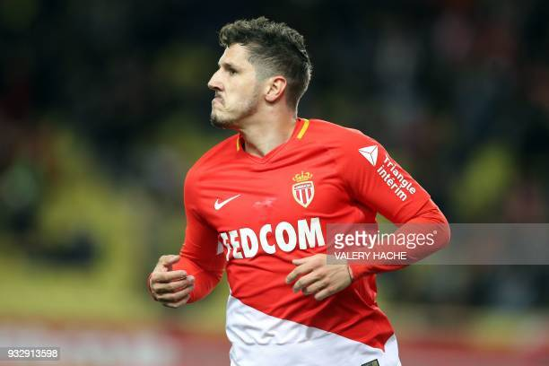 Monaco's Montenegrin forward Stevan Jovetic celebrates after scoring a goal during the French L1 football match between Monaco and Lille on March 16...
