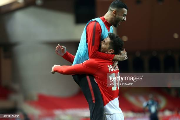 Monaco's Montenegrin forward Stevan Jovetic celebrates after scoring a goal during the French L1 football match Monaco vs Lille on March 16 2018 at...