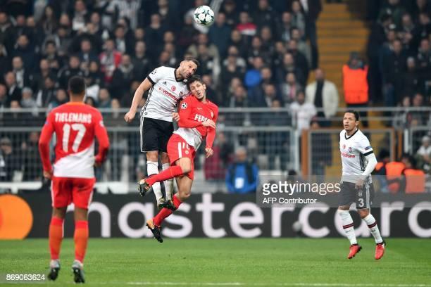 Monaco's Montenegrin forward Stevan Jovetic vies with Besiktas' Serbian defender Dusko Tosic during the UEFA Champions League Group G football match...