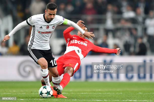 Monaco's Montenegrin forward Stevan Jovetic vies with Monaco's Belgian midfielder Youri Tielemans during the UEFA Champions League Group G football...