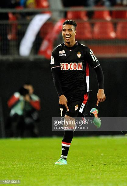Monaco's Moroccan midfielder Nabil Dirar reacts after scoring a goal during the French L1 football match Valenciennes vs Monaco at stade du Hainaut...