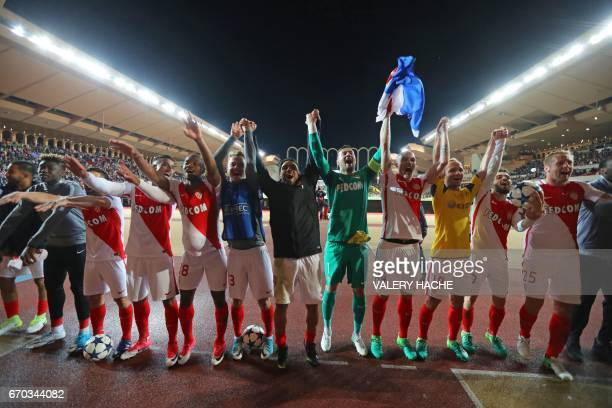 TOPSHOT Monaco's players acknowledge the public after Monaco defeated Dortmund during the UEFA Champions League 2nd leg quarterfinal football match...