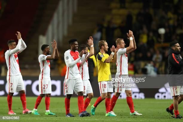 Monaco's players celebrate after defeating Dortmund during the UEFA Champions League 2nd leg quarterfinal football match AS Monaco v BVB Borussia...