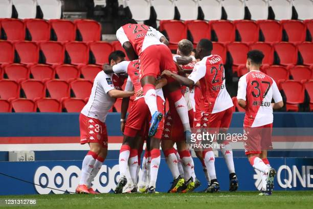Monaco's players celebrate after Monaco's Chilean defender Guillermo Maripan scored the team's second goal, during the French L1 football match...