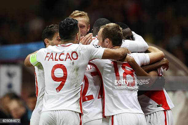Monaco's players celebrate after scoring their first goal during the UEFA Champions League group E football match AS Monaco and Tottenham Hotspur FC...