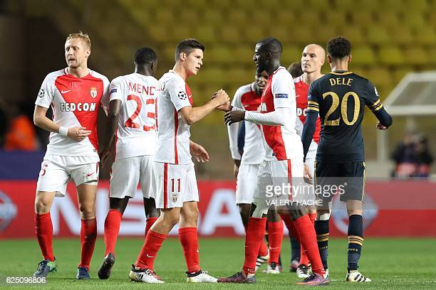 Monaco's players celebrate after winning the UEFA Champions League group E football match AS Monaco and Tottenham Hotspur FC at the Louis II stadium...