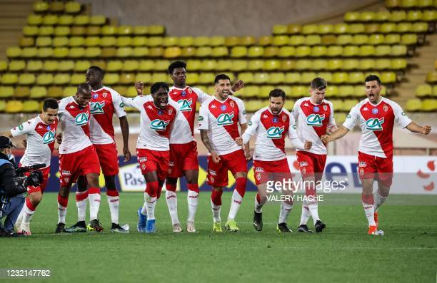 Monaco's players celebrates after winning the French Cup round of 16 football match between AS Monaco and FC Metz at the Louis II stadium in Monaco...