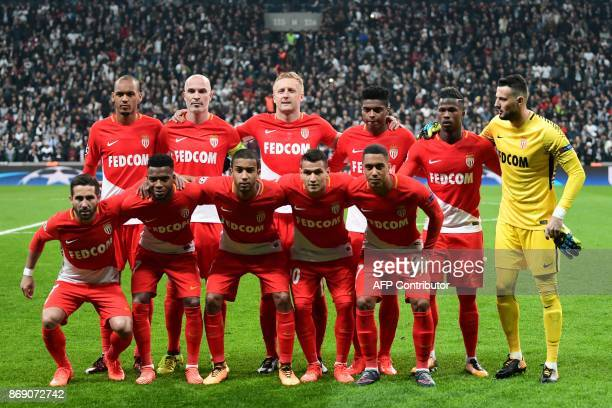 Monaco's players pose prior to the UEFA Champions League Group G football match between Besiktas and Monaco on November 1 at the Vodafone Park in...
