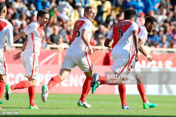 Monaco's Polish defender Kamil Glik celebrates after scoring a goal during the French L1 football match Monaco vs Toulouse on April 29 2017 at the...