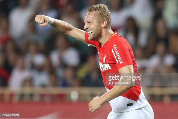 Monaco's Polish defender Kamil Glik celebrates after scoring a goal during the French L1 football match between Monaco and Toulouse at Louis II...