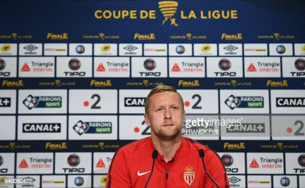 Monaco's Polish defender Kamil Glik looks on during a press conference on March 30 2018 at the Matmut Atlantique Stadium in Bordeaux southwestern...
