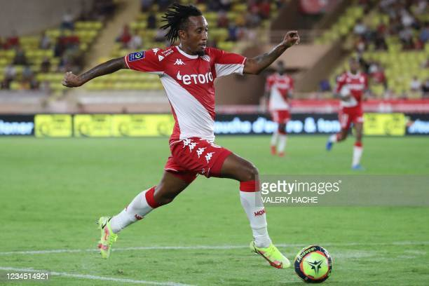 Monaco's Portugese midfielder Gelson Martins runs with the ball during the French L1 football match between AS Monaco and FC Nantes, at the Louis II...