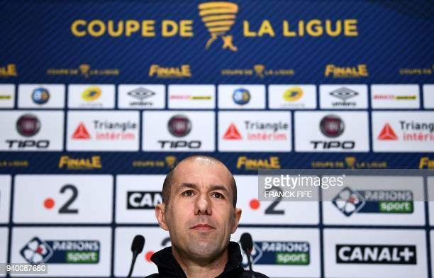Monaco's Portuguese coach Leonardo Jardim looks on during a press conference at the Matmut Atlantique Stadium in Bordeaux on March 30 on the eve of...