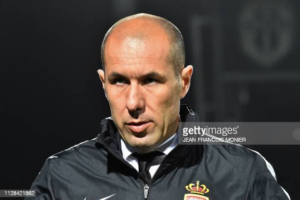 Monaco's Portuguese coach Leonardo Jardim looks on during the French L1 football match between Angers SCO and AS Monaco at the Raymond Kopa stadium...