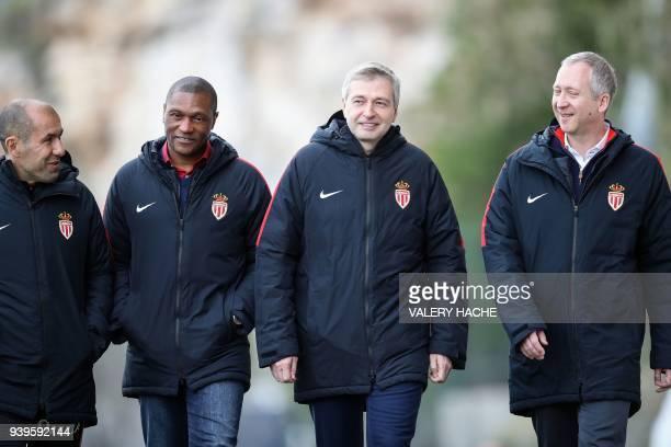 Monaco's Portuguese coach Leonardo Jardim Monaco's sporting director Michael Emenalo Monaco's Russian president Dmitriy Rybolovlev and Monaco's...