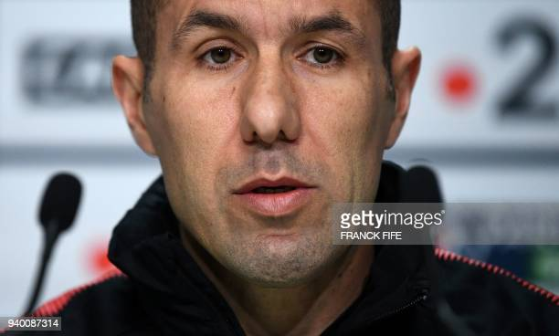 Monaco's Portuguese coach Leonardo Jardim speaks during a press conference at the Matmut Atlantique Stadium in Bordeaux on March 30 on the eve of the...