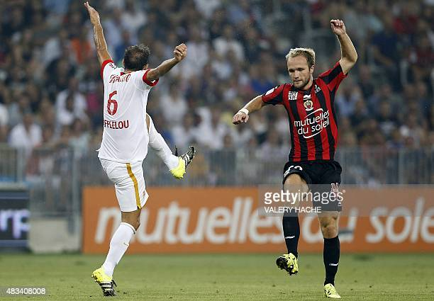 Monaco's Portuguese defender Ricardo Carvalho and Nice's French forward Valere Germain react after losing possession of the ball during the French L1...