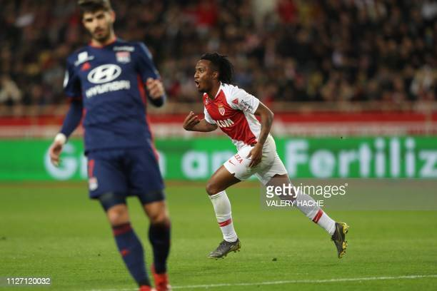 Monaco's Portuguese forward Gelson Martins celebrates after scoring during the French L1 football match Monaco vs Lyon on February 24 2019 at the...