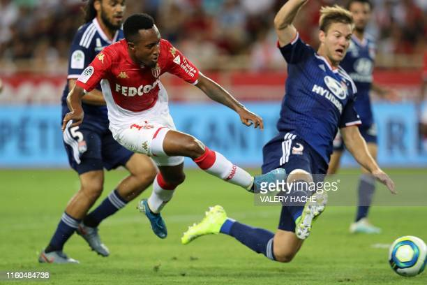 Monaco's Portuguese forward Gelson Martins vies with Lyon's Danish defender Joachim Andersen during the French L1 football match between AS Monaco...