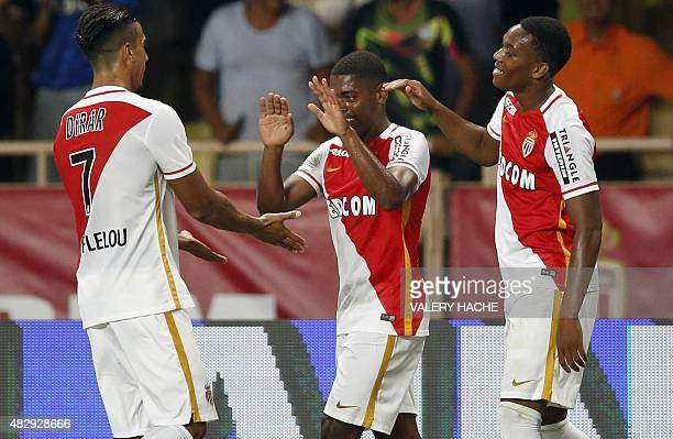 Monaco's Portuguese forward Ivan Cavaleiro celebrates with his team mates after scoring a goal during the UEFA Champions League third qualifying...